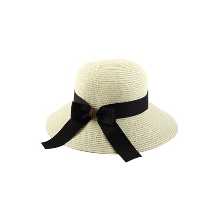 Women Lady Straw Bowknot Decor Brimmed Beach Hat Topee Floppy - Cheap Pith Helmet