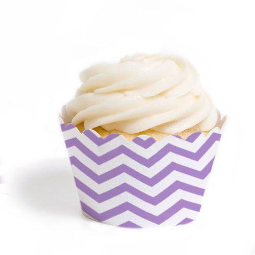 Dress My Cupcake Standard Cupcake Wrappers, Chevron, Lavender, Set of 12