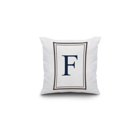 Monogram - Estate - Gray & Blue - F (16x16 Spun Polyester Pillow, Custom