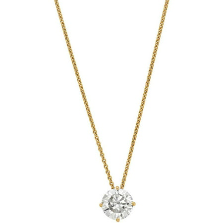 Lab-Created Moissanite 14kt Yellow Gold 7.5mm Round Solitaire Pendant, 18 Cable Chain