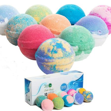 360Feel Bath Bombs Gift Set 10 USA made -Made with Essential Oil - Aromatherapy Organic Ultra Lush Bath Bomb Cosmetics for Women Men Kids - bathbombs gift for Anniversary, Wedding, Bulk Ba