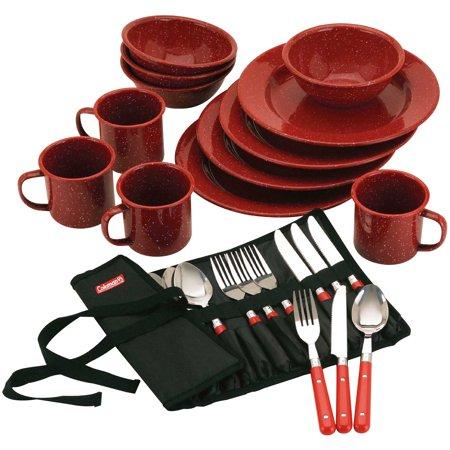 Coleman 24 Piece Enameled Dinnerware & Utensils Set for 4, Red