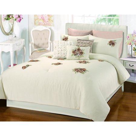 Rosetta Floral Bouquet Applique Beige 5 Piece Comforter Bed In A Bag Set