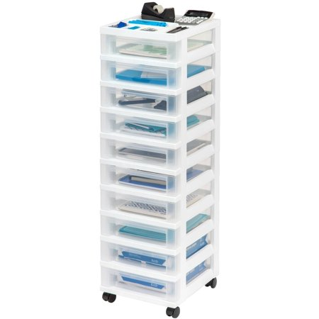 IRIS 10-Drawer Rolling Storage Cart with Organizer Top, White