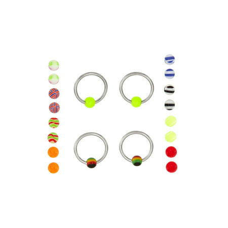 Body Magic 316L Steel and Surgical-Grade Material 2-Piece Captive and 18 Loose-Bead Extreme Value Set 316l Surgical Steel Material