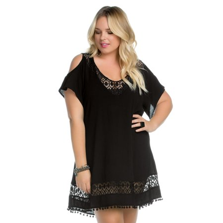8239d32221 Becca ETC - Women's Plus Size Poetic V Neck Cold Shoulder Pom Pom Tunic  Swim Cover Up-0X-Black - Walmart.com