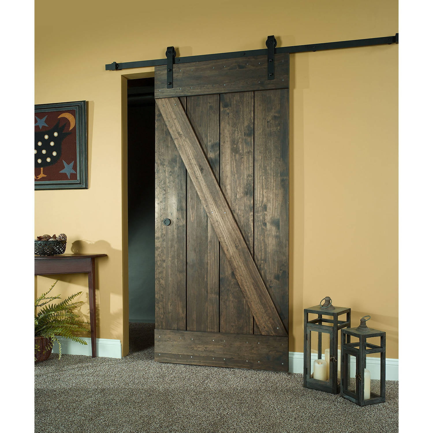 Wood barn door kit 24 x 80 unfinished pine z design walmart vtopaller Image collections