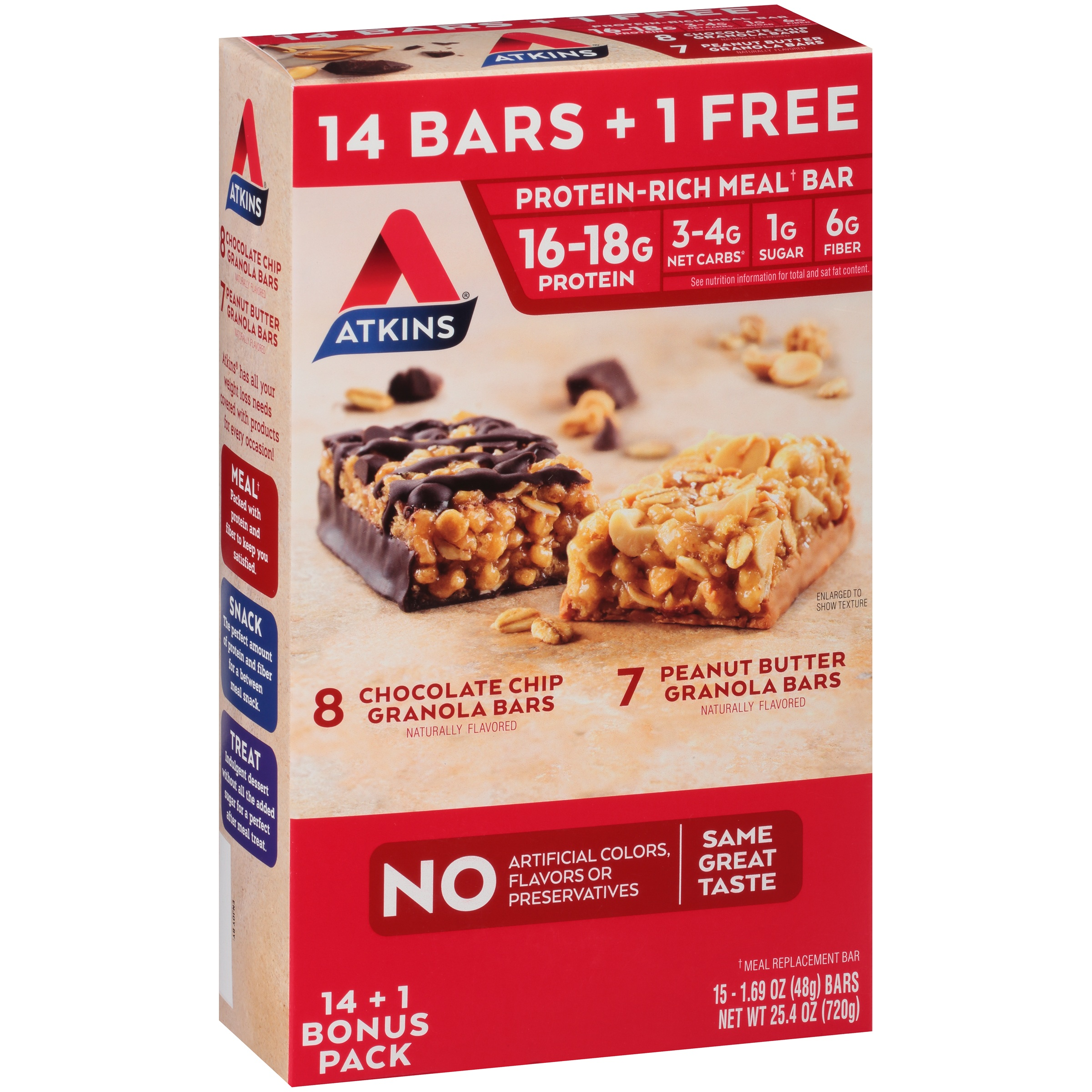 Atkins® Chocolate Chip & Peanut Butter Granola Bars Variety Pack 15 ct Box