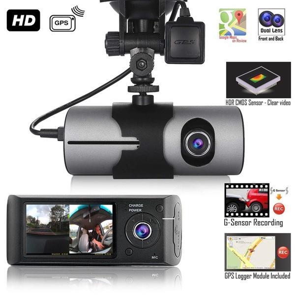 Dual Lens GPS Camera HD Car DVR Dash Cam Video Recorder G-Sensor w// Night Vision