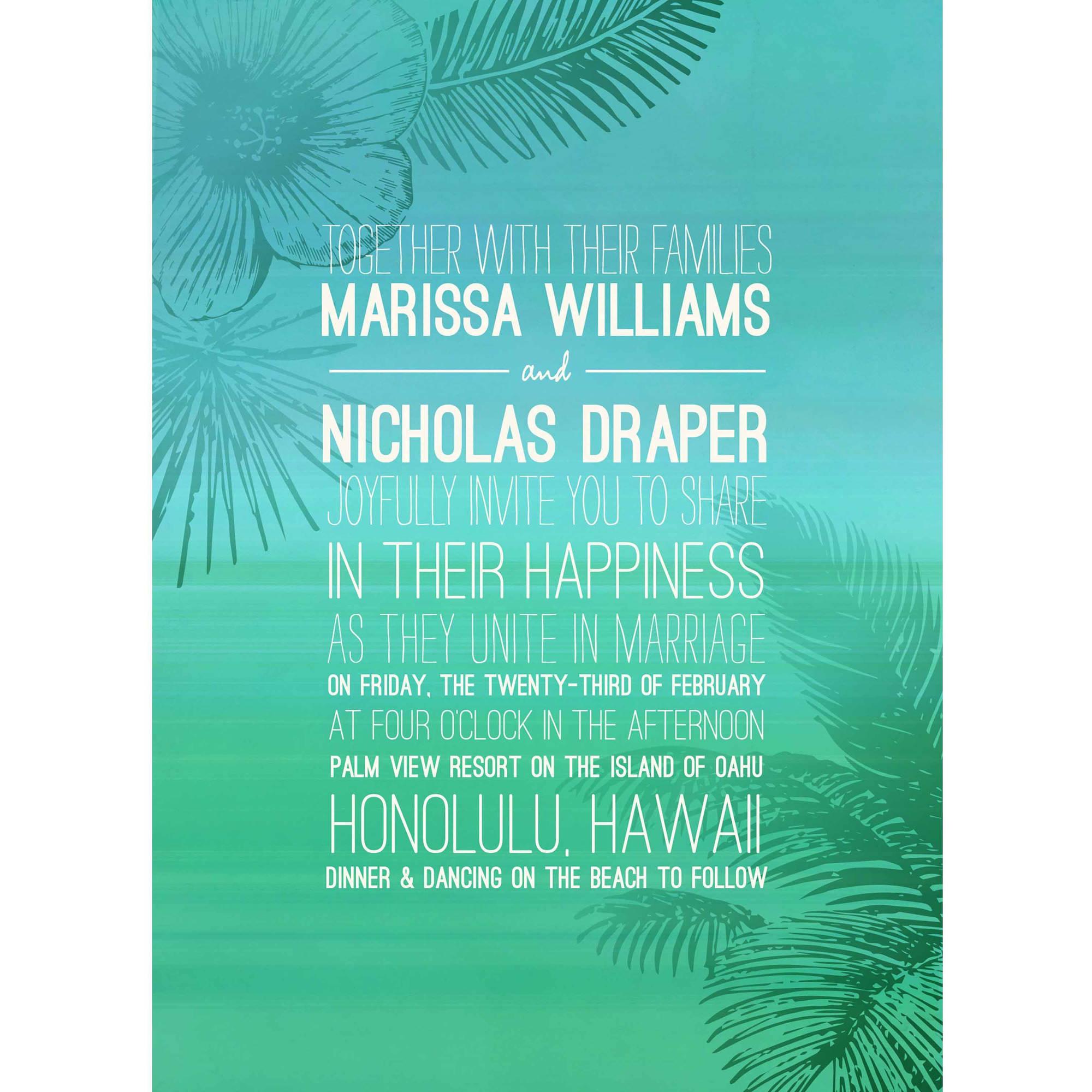 Tropical Oasis Standard Wedding Invitation