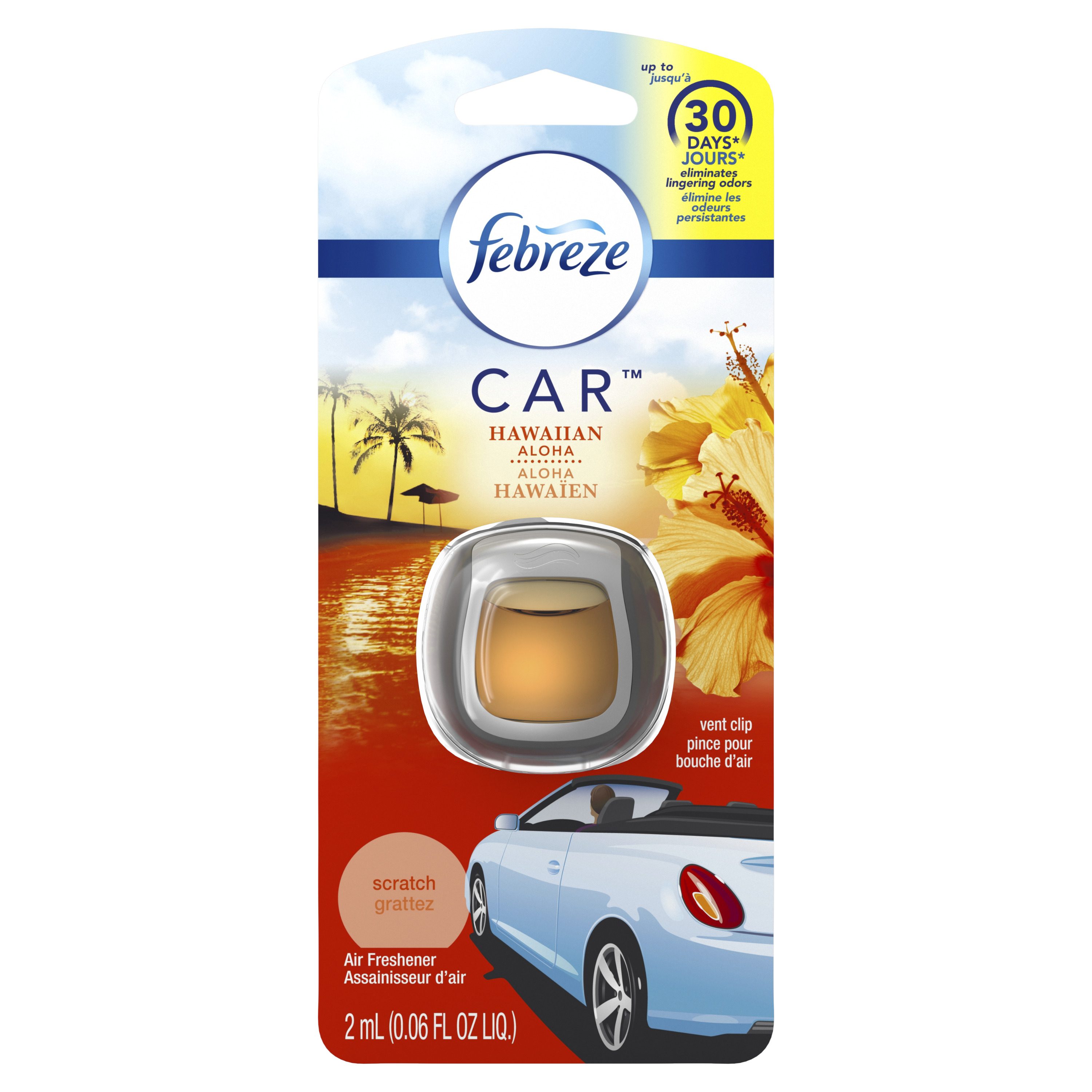 Febreze Car Air Freshener Vent Clip, Hawaiian Aloha, 1 Count