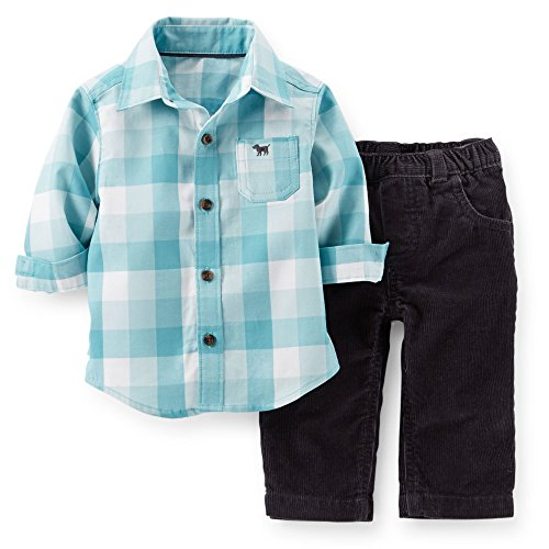 Carter's Baby Boys' 2-Piece Plaid Top & Corduroy Pant Set - Newborn