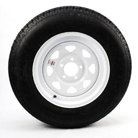 Radial Mount Front End (Mounted Radial Trailer Tire On Rim ST205/75R15 Load C 5 Lug White Spoke )