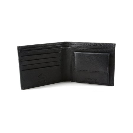 Mens Leather Bifold Wallet Coin Pocket Purse Pouch 2 Bill Sections