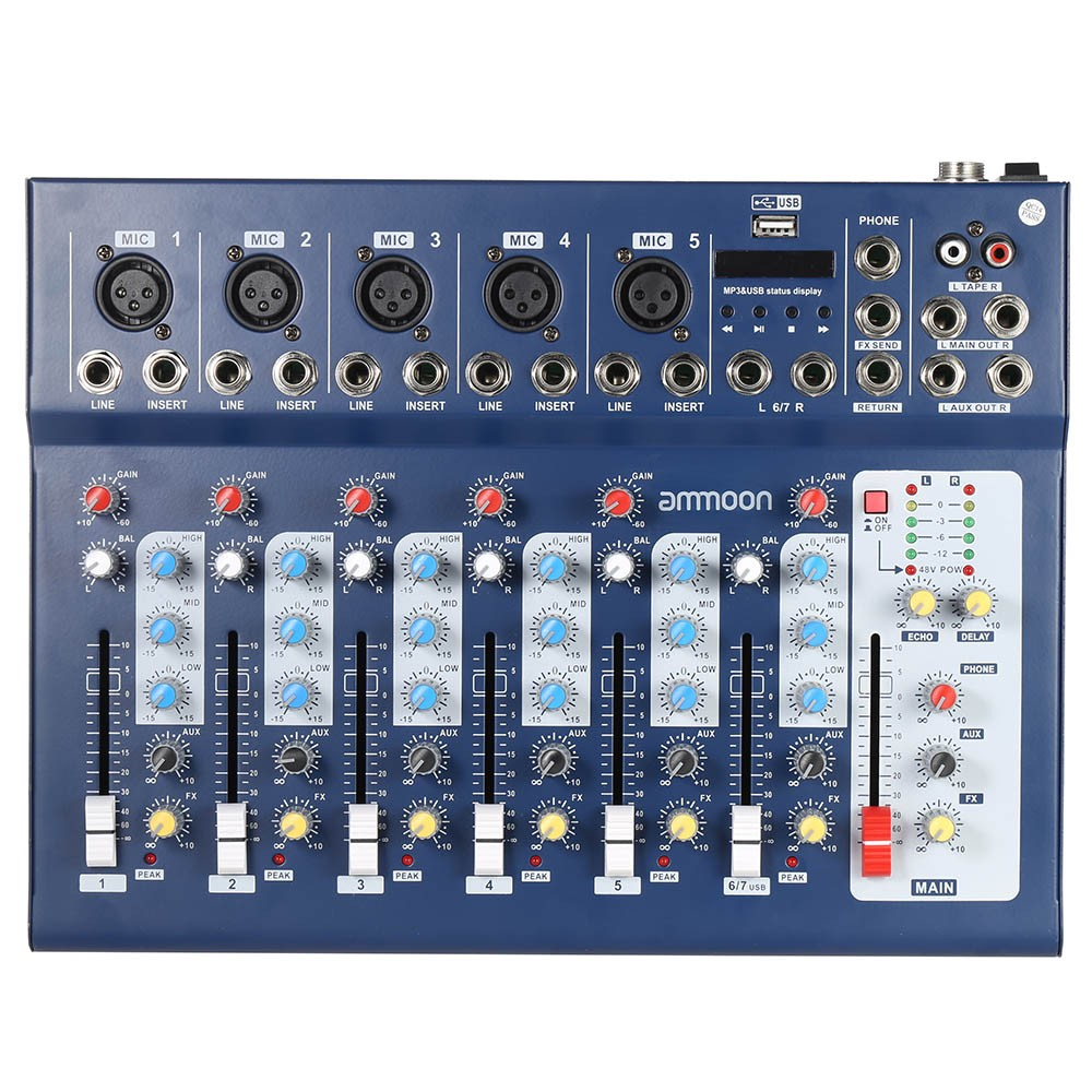 ammoon F7-USB 7-Channel Digtal Mic Line Audio Sound Mixer Mixing Console with USB Input... by