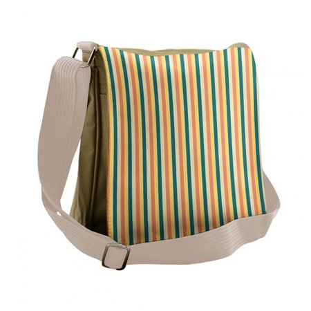 Geometric Messenger Bag, Bold Repeating Stripes, Unisex Cross-body, by Ambesonne