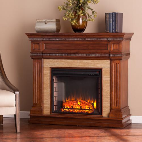Upton Home Bowen Oak Saddle Stone Look Electric Fireplace
