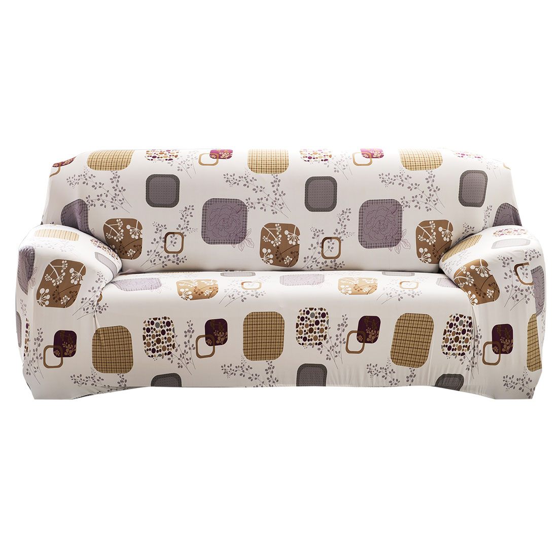 """Unique Bargains 74"""" - 90""""Mult-color Sofa Cover Slipcovers Protector Stretch 3 Seats Flower Block Pattern"""