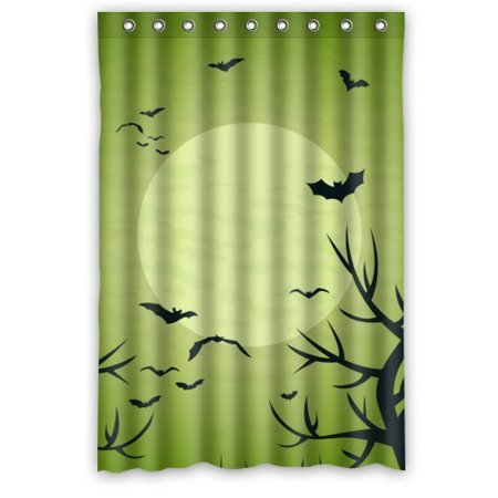 GreenDecor Black Trees And Bats In Green Waterproof Shower Curtain Set with Hooks Bathroom Accessories Size 48x72 inches ()