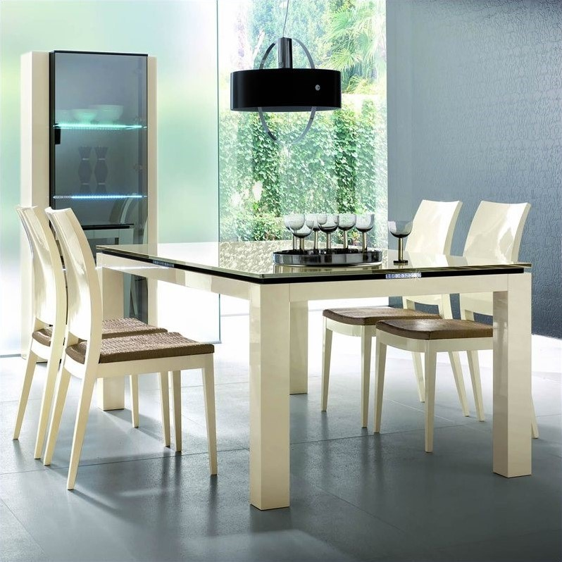 Rossetto Diamond Rectangular Dining Table in Ivory with Glass Top