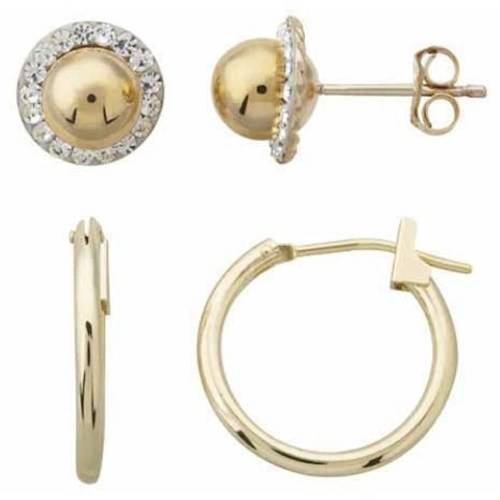 Simply Gold 10kt Yellow Gold Dome Stud With Crystal And 16mm Snap Hoop Earrings Set