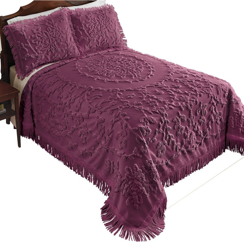 Vine Medallion Chenille Bedspread Eggplant Twin, Eggplant, Twin, Instantly  Add A Touch Of Elegance To Your Home With This Beautiful Bedspread By  Collections ...