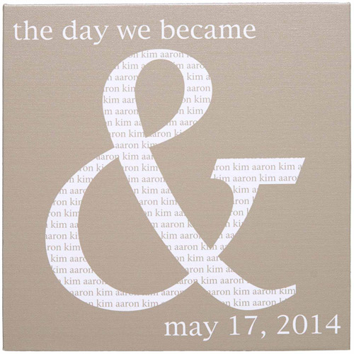 "Personalized The Day We Became ""&"" Canvas, 11"" x 11"""