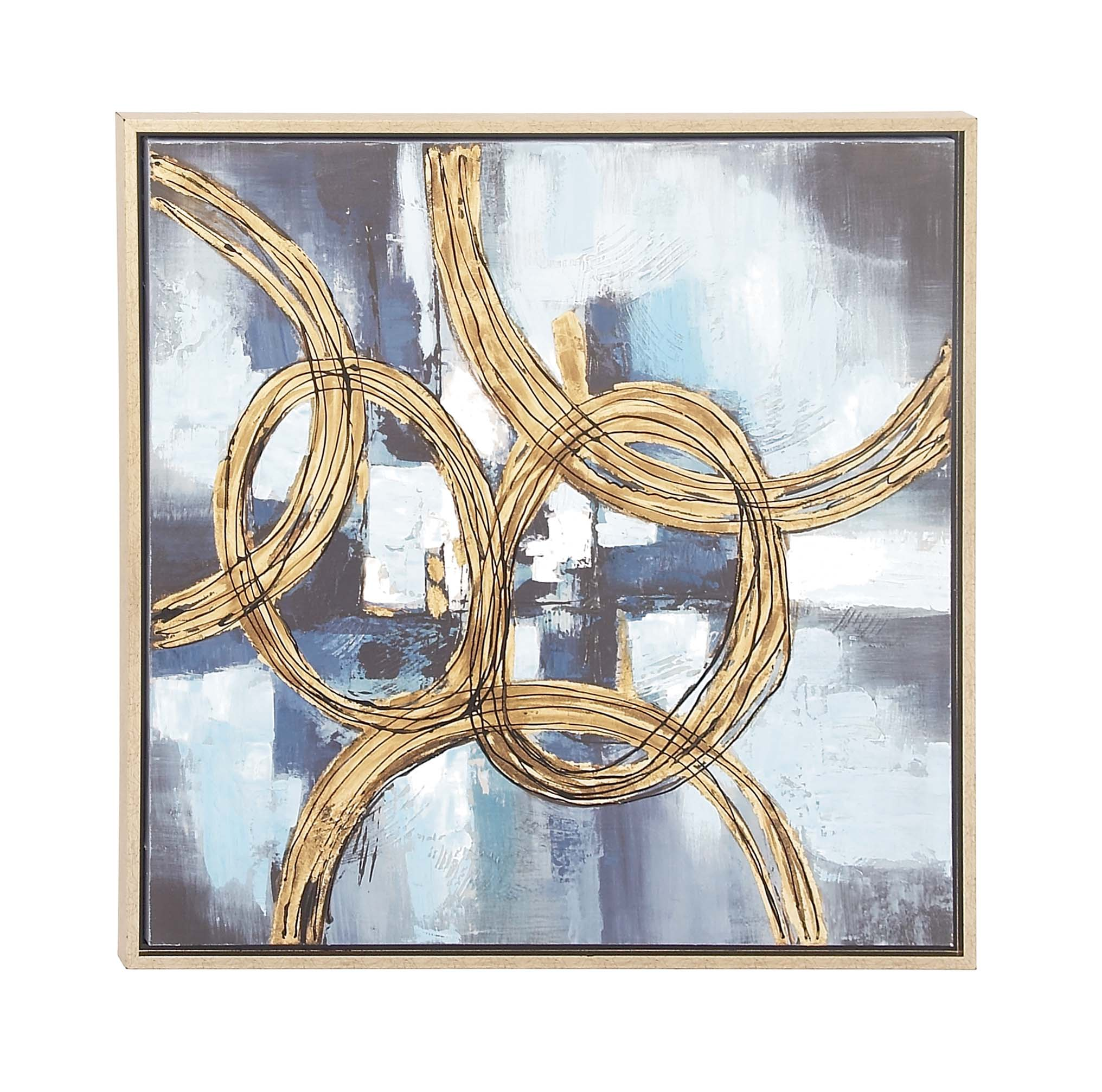Decmode Contemporary 32 X 32 Inch Abstract Linked Circles Framed Canvas Wall Artwork, Blue by DecMode