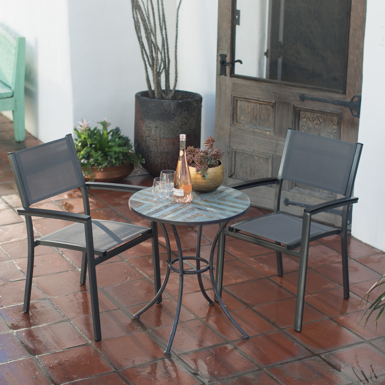 Belham Living Whitney Sling Chair and Stone Table Patio Bistro Set by