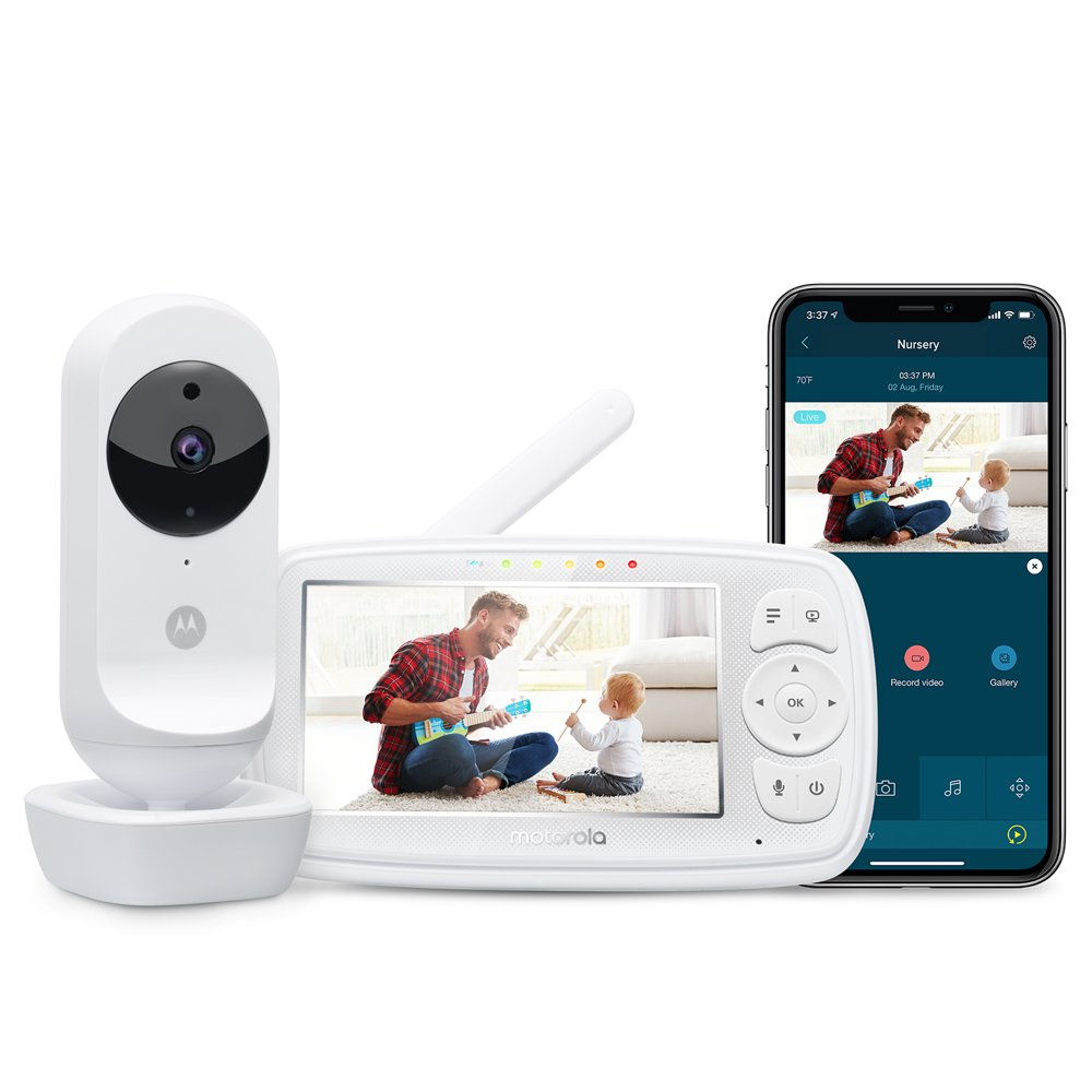 """Motorola Ease44CONNECT Wi-Fi Video Baby Monitor with 4.3"""" HD Color Screen"""