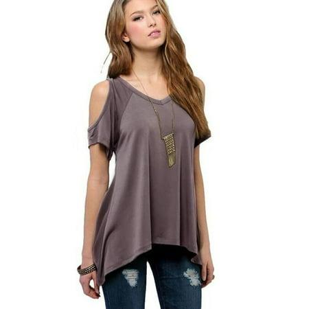 ed0a00b94d422 Babula - Babula Women Cold Shoulder Casual Tunic Tops Irregular Hem M-5XL -  Walmart.com