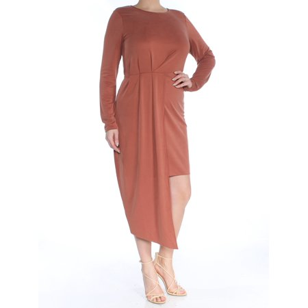 BAR III Womens Brown Long Sleeve Jewel Neck Tea-Length Hi-Lo Dress  Size: (Cw X Womens 3 4 Length Revolution Tights)