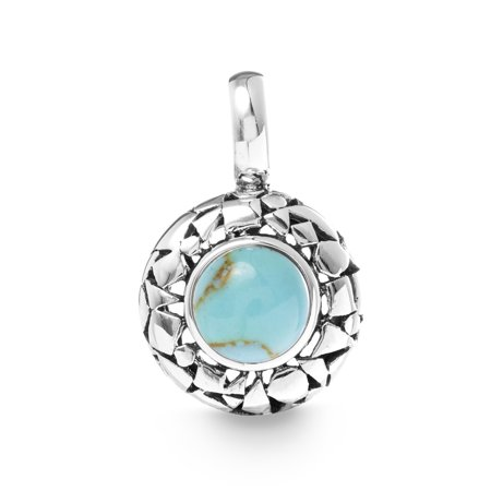 Design Turquoise Fused Glass Pendant - Simulated Turquoise Scaled Round Pendant in Oxidized Sterling Silver