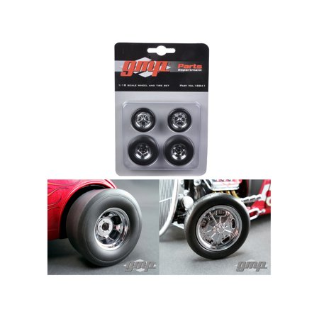 Wheels and Tires Set of 4 Chromed Hot Rod Drag 1/18 by GMP - Hot Rod Tires