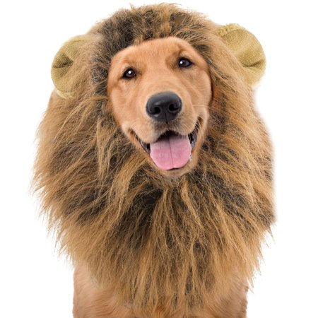 Lion Mane Wig For Dogs Halloween Costume - 100% Polyester Fits MD / LG Dogs