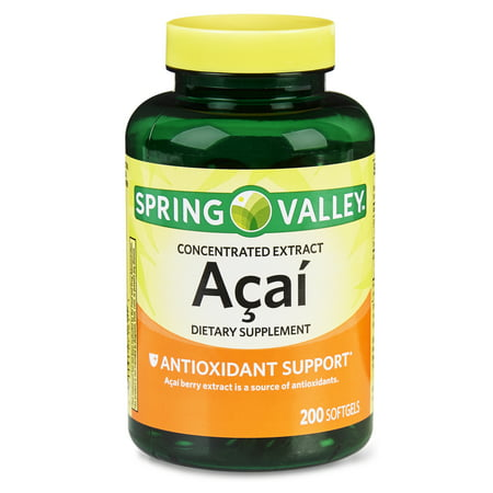 - Spring Valley Acai Extract Softgels, 50 mg, 200 Ct
