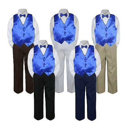 4pc Boy Suit Set Royal Blue Bow Tie Vest Baby Toddler Kid Pants - Blue Suit Next