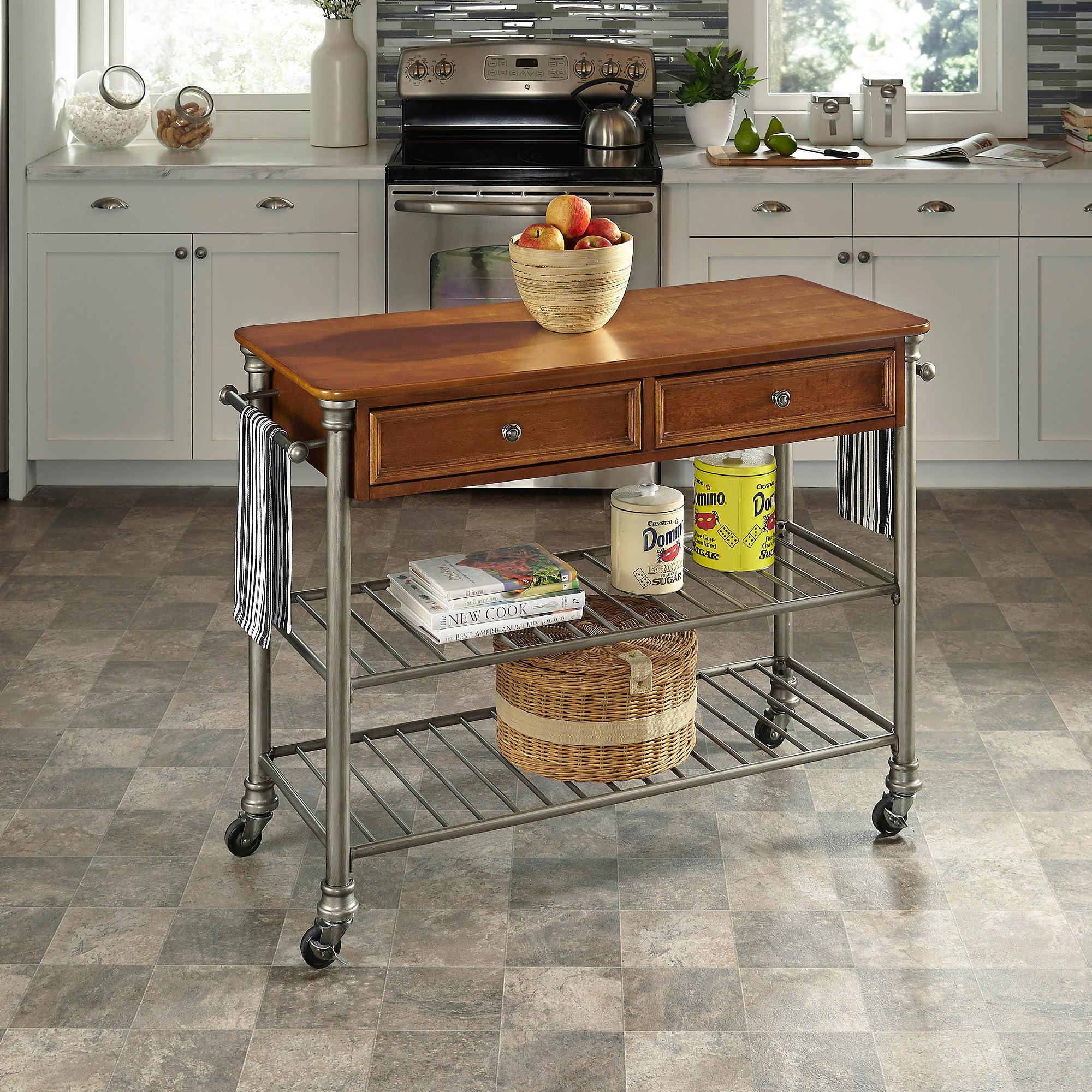 the orleans kitchen cart, wood, vintage caramel finish - walmart