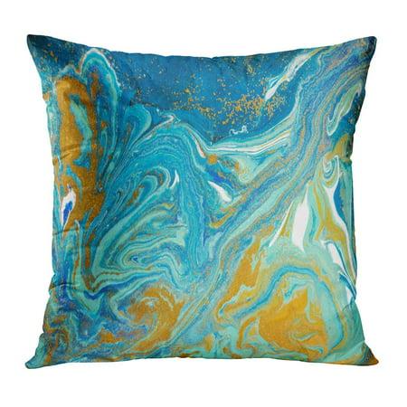 ECCOT Acrilic Marble Abstract Blue Marbling Agate Ripple Pattern Gold Powder Watercolor Ancient Aqua Color Pillowcase Pillow Cover Cushion Case 18x18 (Aqua Agate)