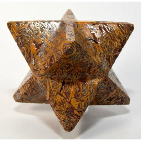 "2.4"" 95g 8 Point Mariyam Holly Stone Merkaba Star Elephant Skin / Coquina Jasper Crystal Natural Fossil Mineral Arabic Calligraphy Scriptstone - India"