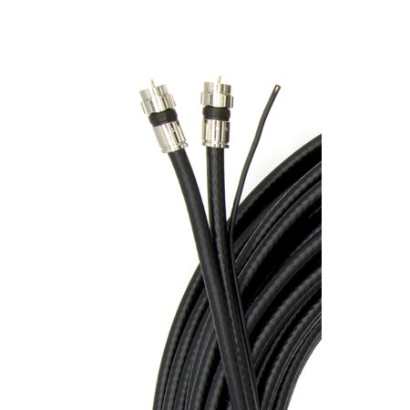 75ft dual rg6 coax 18awg coaxial cable with attached ground wire, high quality compression connectors, black (Dual Rg6 Coaxial)