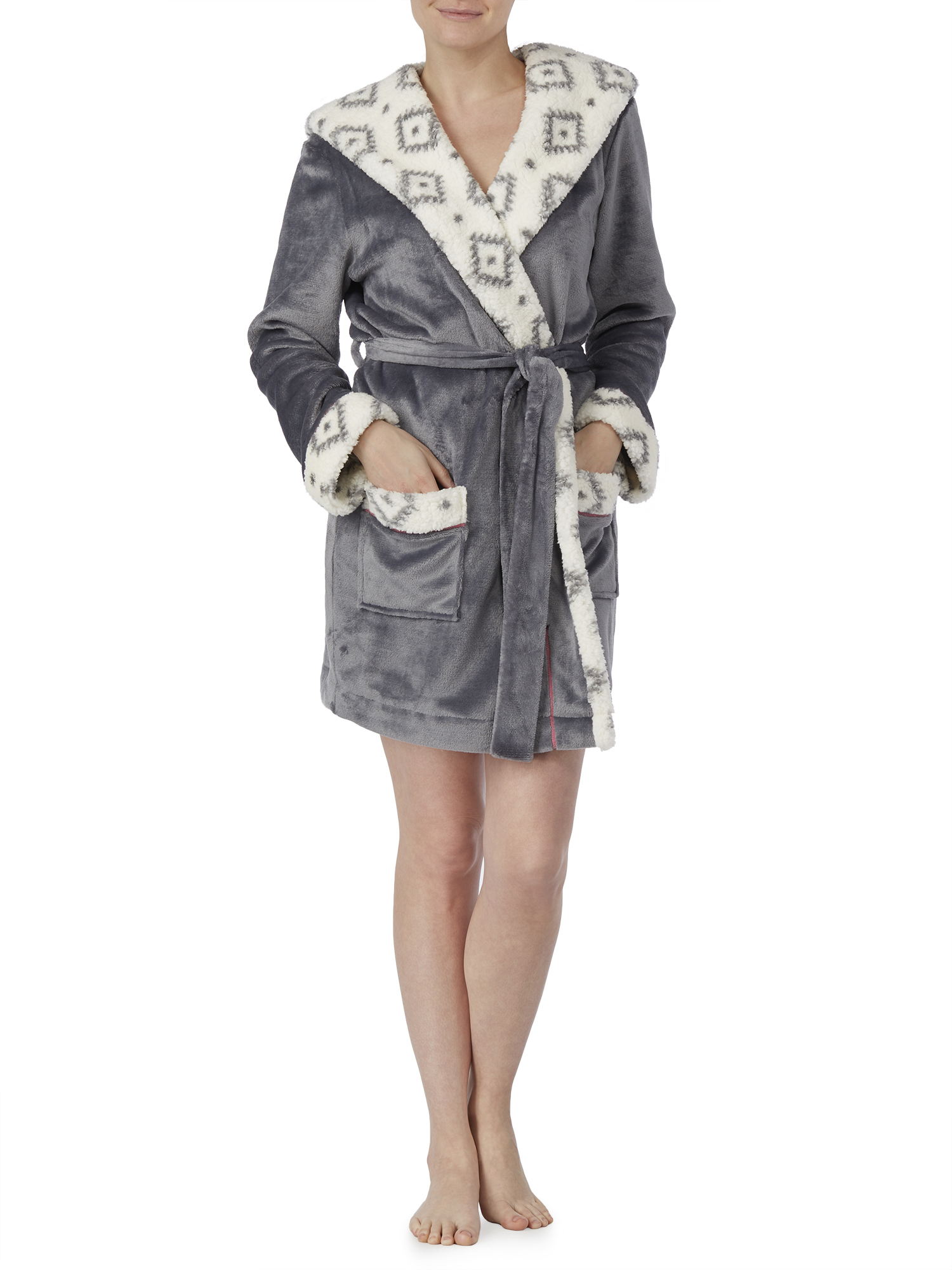 Secret Treasures Women's and Women's Plus Wrap Robe With Fleece Lined Hood
