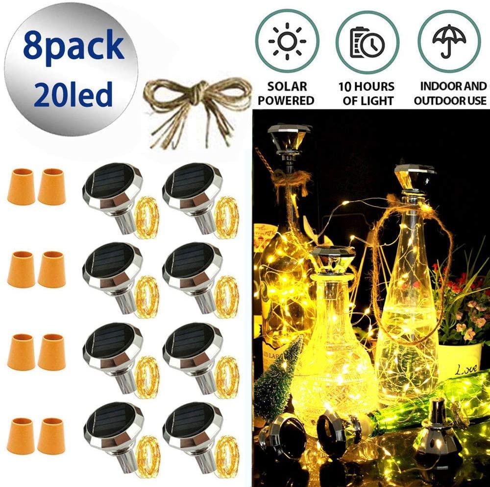 Bottle Light Solar Diamond Bottle Light 8 Pack Solar Powered Wine Bottle Lights,