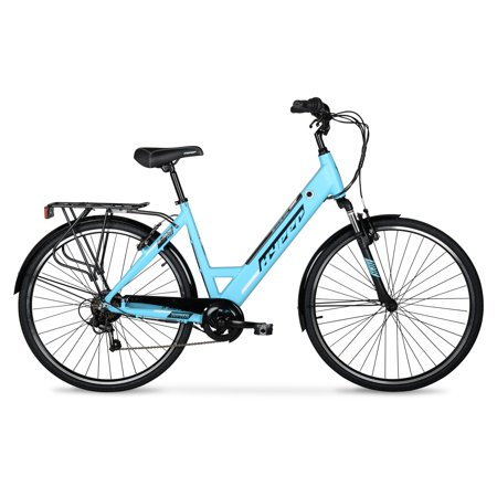 Hyper E-Ride Electric Bike, 36 Volt Battery, 20+ Mile Range, 700C Wheels, Blue