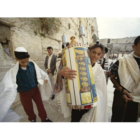 Jewish Bar Mitzvah Ceremony at the Western Wall (Wailing Wall), Jerusalem, Israel, Middle East Print Wall Art By S Friberg