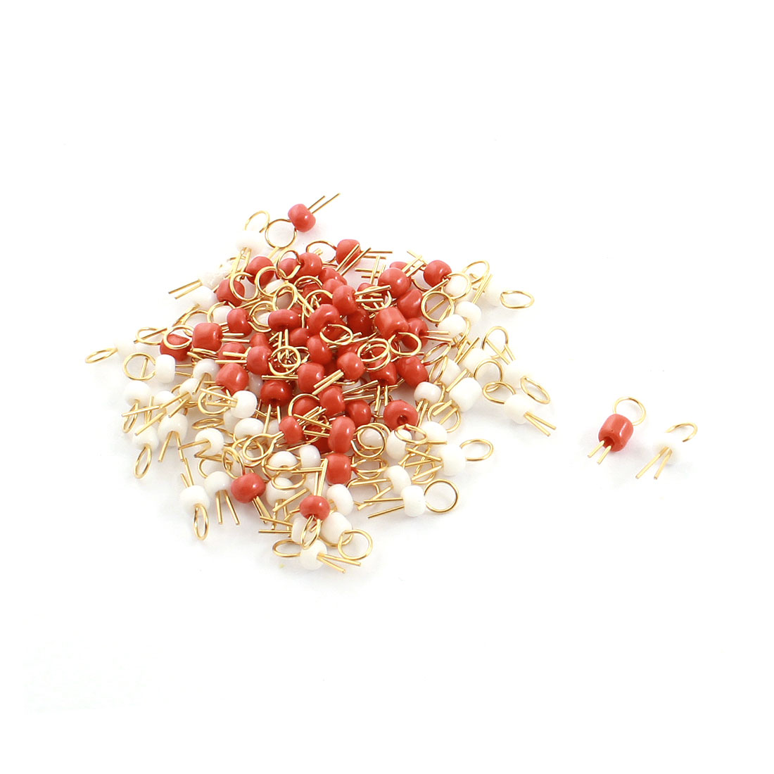 Unique Bargains 100PCS Red + White Bead Electronic Soldering Probe PCB Test Endpoint Pin