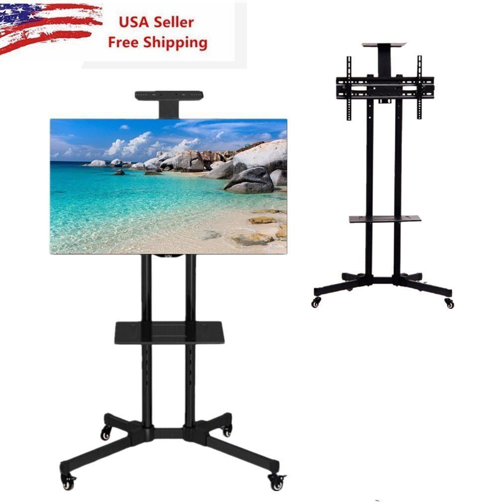 """TV Stands Adjustable Height Rolling TV Stand for TVs up to 65"""" TV Floor Stands"""