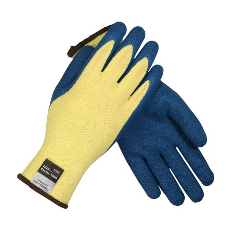 09-K1310/M Seamless Knit Kevlar Glove with Latex Coated Crinkle Grip on Palm and Fingers, This Product is Kevlar With Blue Latex Grip By G-Tek CR Cr Plus Gloves