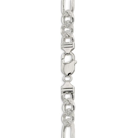 925 Sterling Silver 9.5mm Pav? Flat Figaro Chain - image 1 of 5