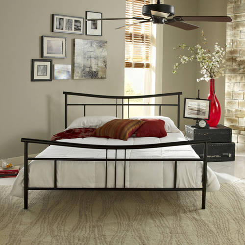 Premier Annika Metal Platform Bed Frame Full, Black with Bonus Base Wooden Slat System